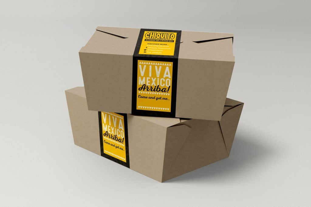 take away Kraft box packaging and stickers