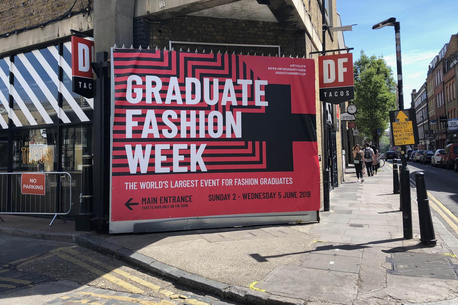 Graduate Fashion Week 2019 PCV canvas entrance gate signage banner