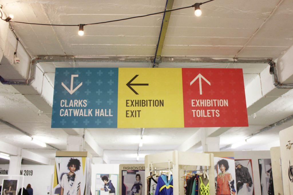 Graduate Fashion Week 2019 directional hanging banner signage