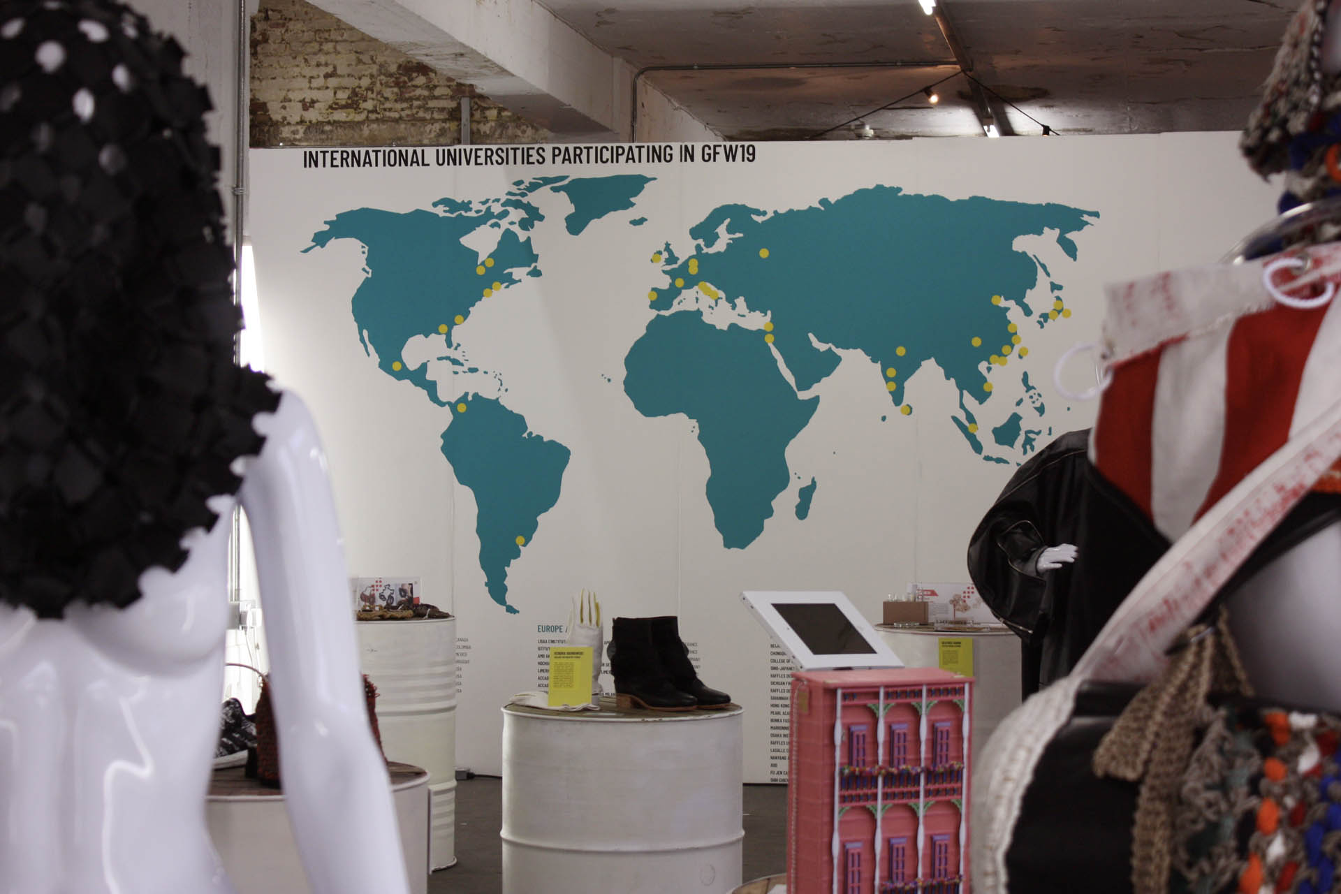 Graduate Fashion Week 2019 international exhibition university map vinyl