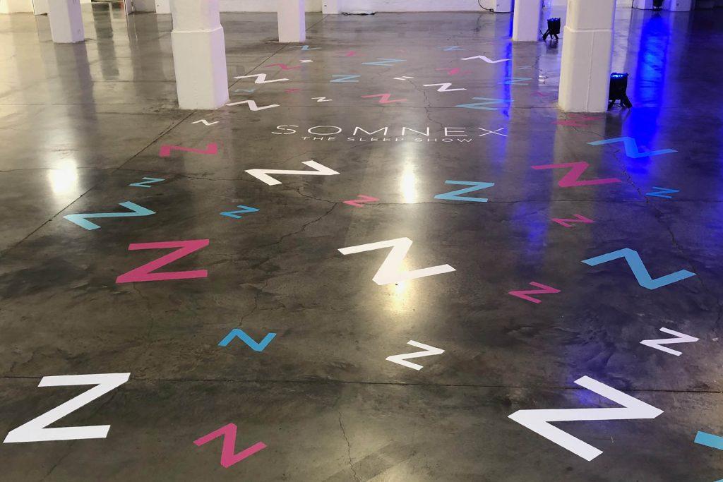 Somnex the sleep show floor vinyl entrance graphics