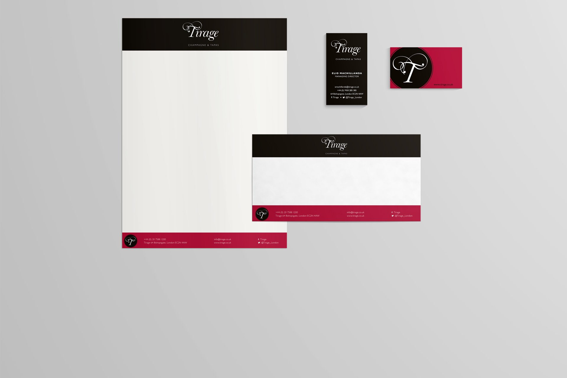 tirage champagne and tapas restaurant stationery