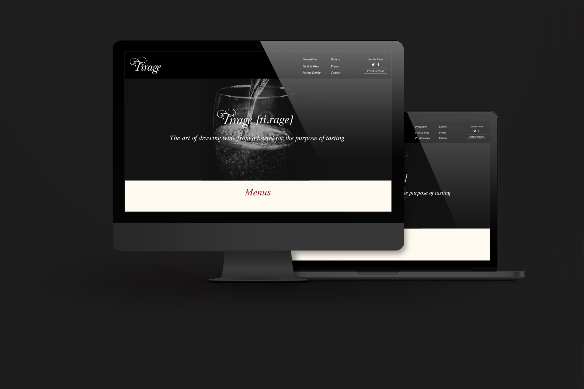 tirage champagne and tapas restaurant website